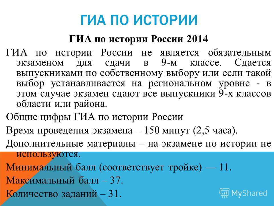 ГИА ПО ИСТОРИИ ГИА по истории России 2014 ГИА по истории России не является обязательным экзаменом для сдачи в 9-м классе. Сдается выпускниками по собственному выбору или если такой выбор устанавливается на региональном уровне - в этом случае экзамен