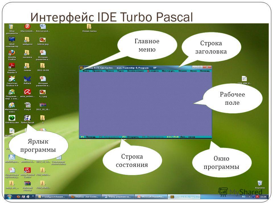 Интерфейс IDE Turbo Pascal Ярлык программы Окно программы Строка состояния Строка заголовка Главное меню Рабочее поле