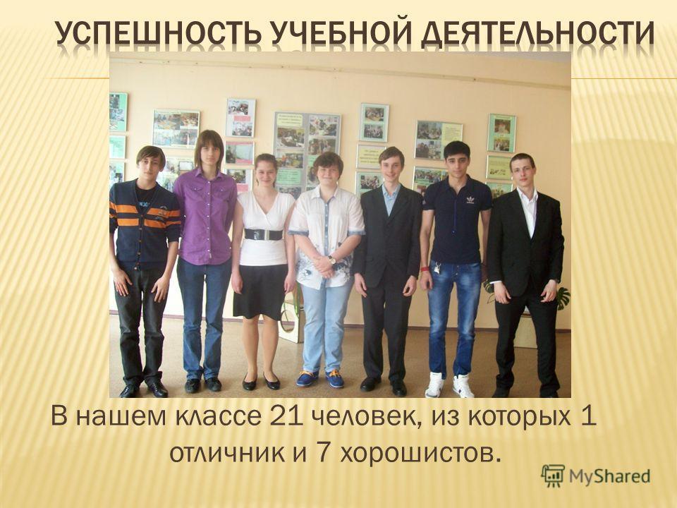 В нашем классе 21 человек, из которых 1 отличник и 7 хорошистов.