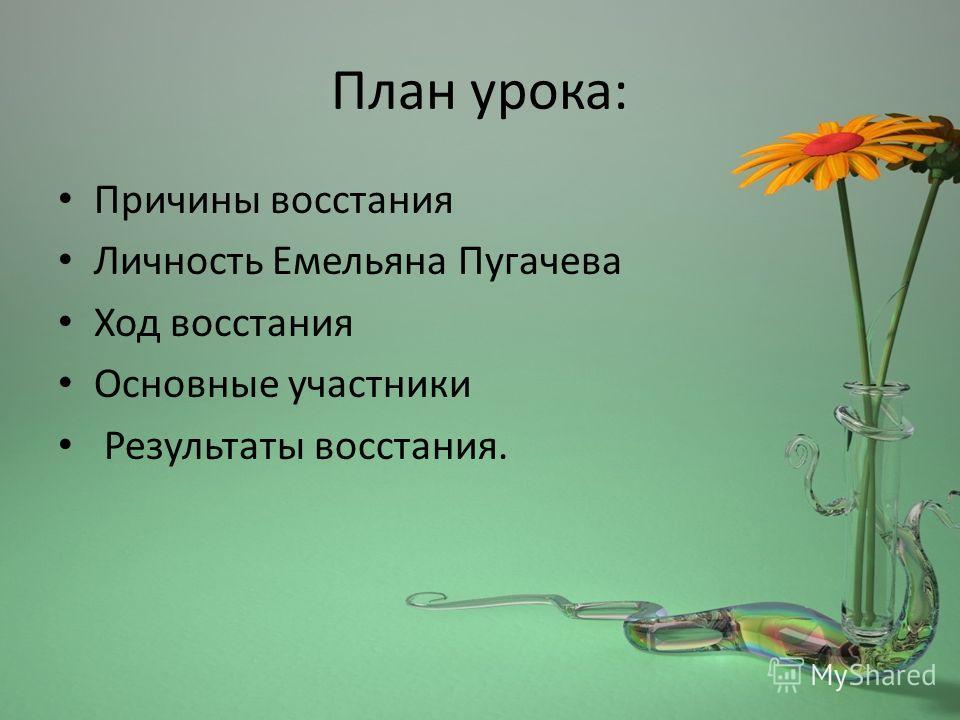 План урока: Причины восстания Личность Емельяна Пугачева Ход восстания Основные участники Результаты восстания.