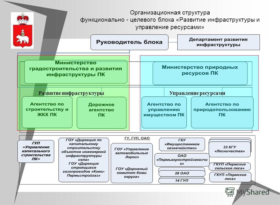Организационная структура функционально - целевого блока «Развитие инфраструктуры и управление ресурсами» Развитие инфраструктуры Управление ресурсами