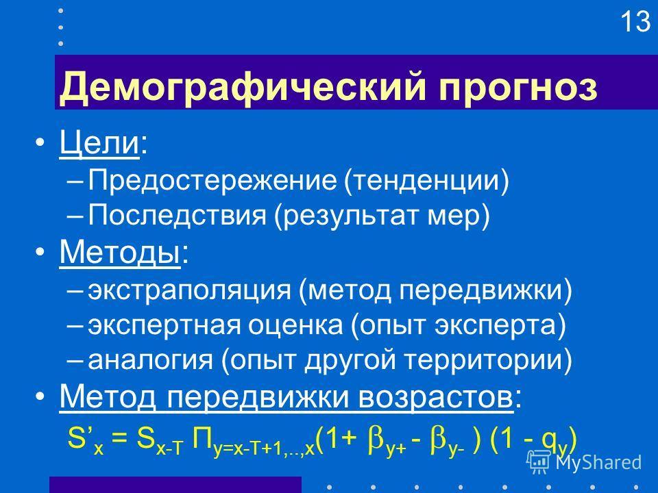 13 Демографический прогноз Цели: –Предостережение (тенденции) –Последствия (результат мер) Методы: –экстраполяция (метод передвижки) –экспертная оценка (опыт эксперта) –аналогия (опыт другой территории) Метод передвижки возрастов: S x = S x-T П y=x-T