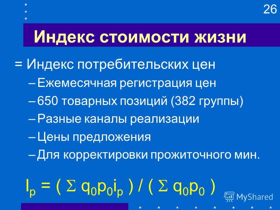 26 Индекс стоимости жизни = Индекс потребительских цен –Ежемесячная регистрация цен –650 товарных позиций (382 группы) –Разные каналы реализации –Цены предложения –Для корректировки прожиточного мин. I p = ( q 0 p 0 i p ) / ( q 0 p 0 )