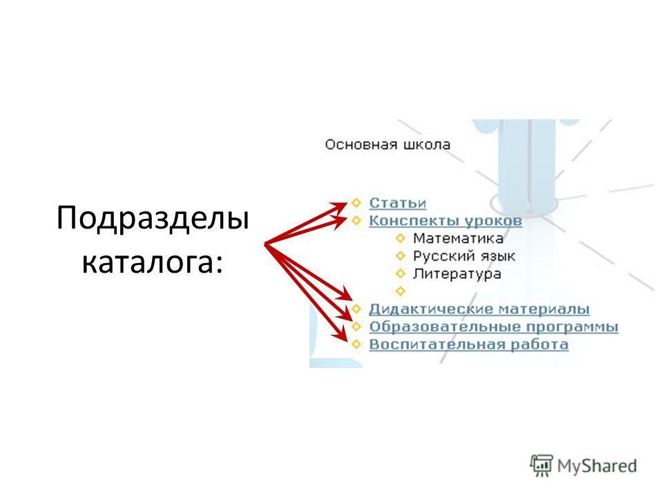 Подразделы каталога: