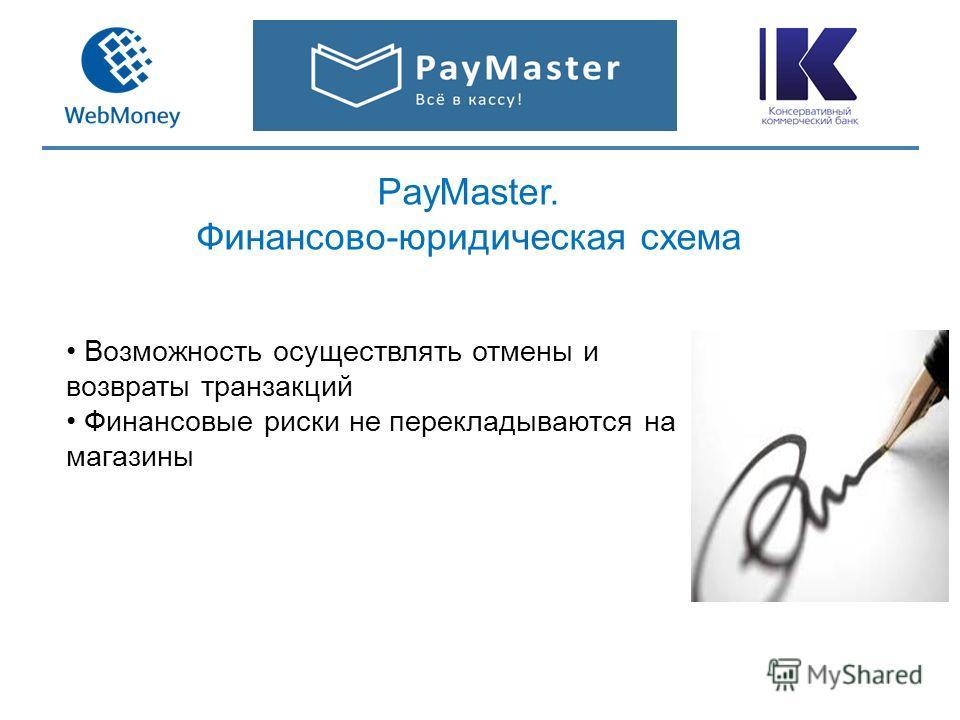 PayMaster. Финансово-юридическая схема Возможность осуществлять отмены и возвраты транзакций Финансовые риски не перекладываются на магазины
