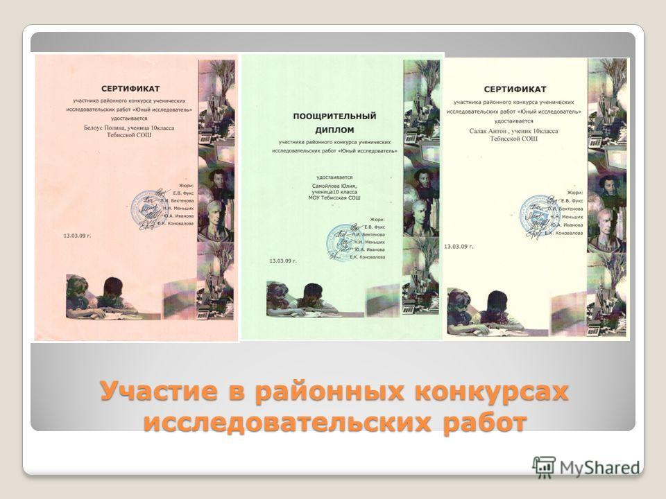 Участие в районных конкурсах исследовательских работ