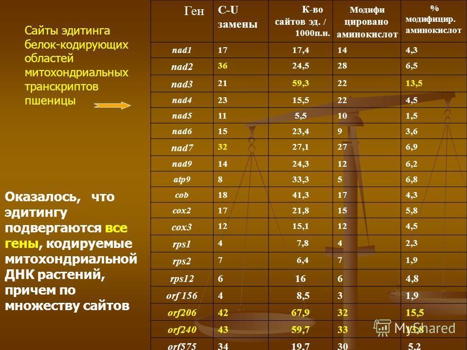 Ген С-U замены К-во сайтов эд. / 1000п.н. Модифи цировано аминокислот % модифицир. аминокислот nad11717,4144,3 nad2 3624,5286,5 nad3 2159,32213,5 nad42315,5224,5 nad5115,5101,5 nad61523,493,6 nad7 3227,1276,9 nad91424,3126,2 atp9833,356,8 cob1841,317