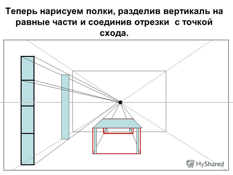 Теперь нарисуем полки, разделив вертикаль на равные части и соединив отрезки с точкой схода.
