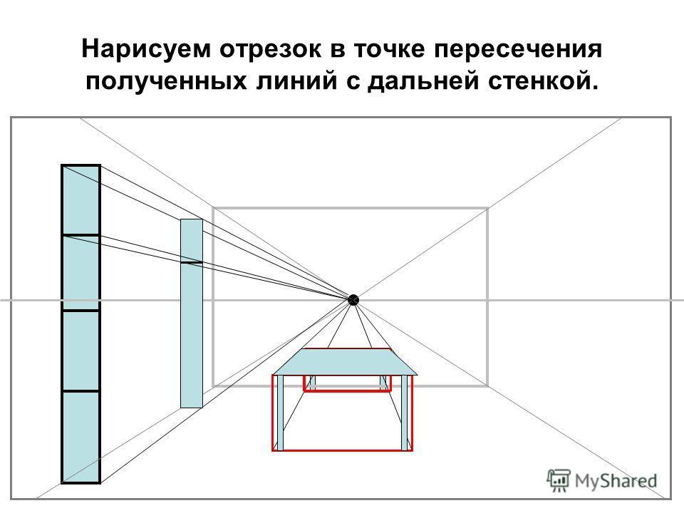 Нарисуем отрезок в точке пересечения полученных линий с дальней стенкой.