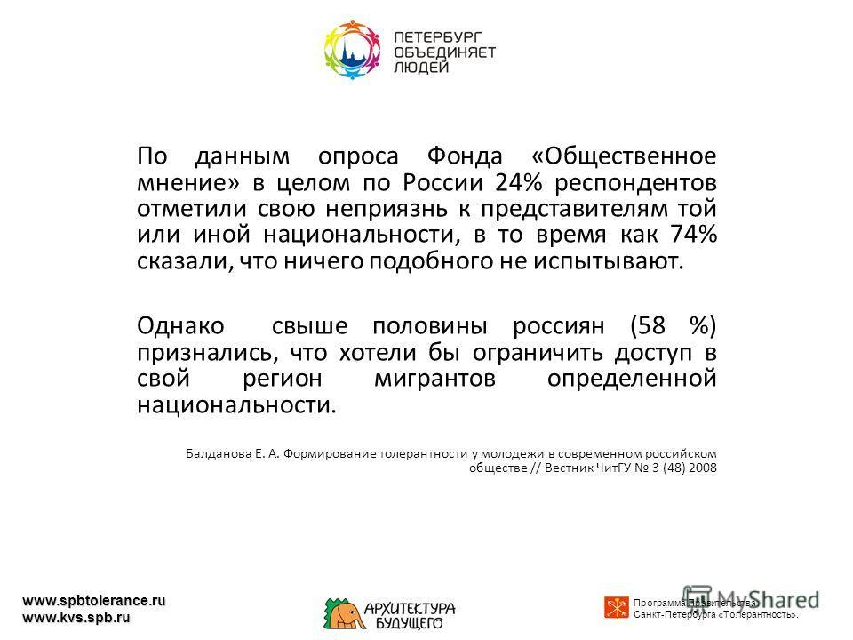 По данным опроса Фонда «Общественное мнение» в целом по России 24% респондентов отметили свою неприязнь к представителям той или иной национальности, в то время как 74% сказали, что ничего подобного не испытывают. Однако свыше половины россиян (58 %)