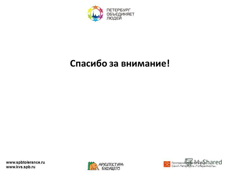 Спасибо за внимание! Программа Правительства Санкт-Петербурга «Толерантность». www.spbtolerance.ru www.kvs.spb.ru