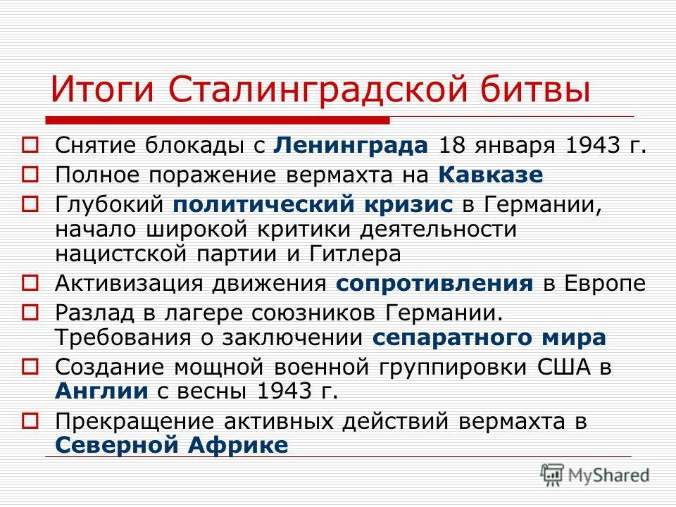 Итоги Сталинградской битвы Снятие блокады с Ленинграда 18 января 1943 г. Полное поражение вермахта на Кавказе Глубокий политический кризис в Германии, начало широкой критики деятельности нацистской партии и Гитлера Активизация движения сопротивления