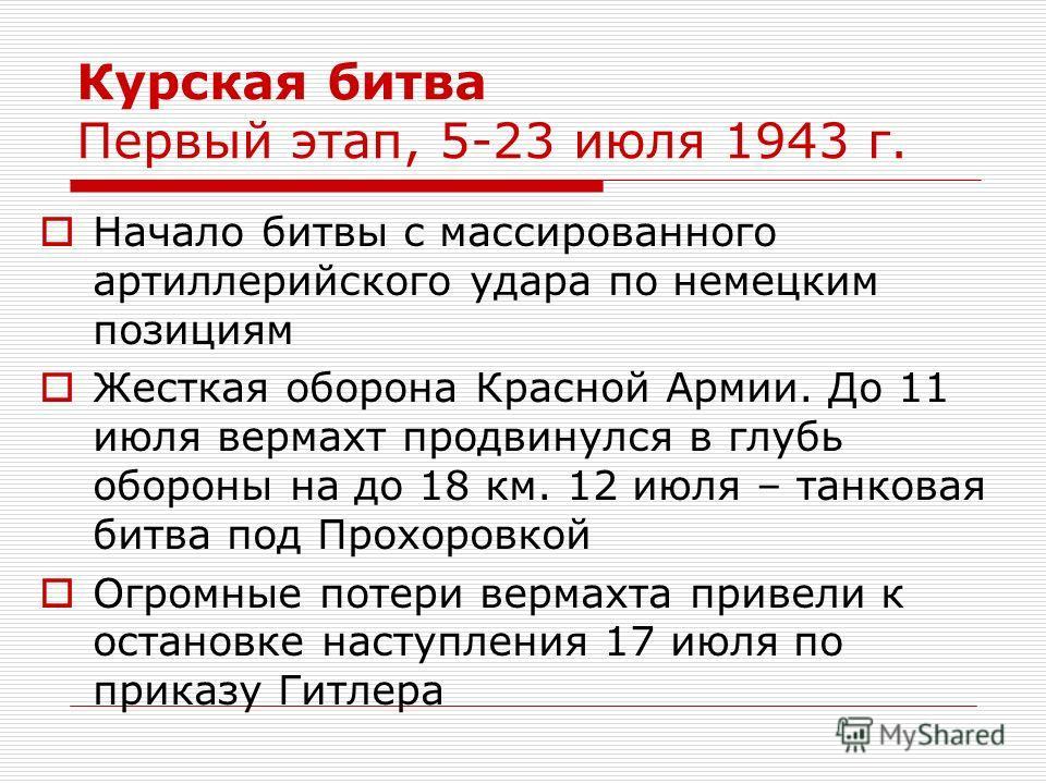 Курская битва Первый этап, 5-23 июля 1943 г. Начало битвы с массированного артиллерийского удара по немецким позициям Жесткая оборона Красной Армии. До 11 июля вермахт продвинулся в глубь обороны на до 18 км. 12 июля – танковая битва под Прохоровкой