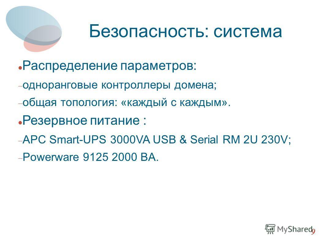 Архитектура HTTP 9 Безопасность: система Распределение параметров: одноранговые контроллеры домена; общая топология: «каждый с каждым». Резервное питание : APC Smart-UPS 3000VA USB & Serial RM 2U 230V; Powerware 9125 2000 BA.