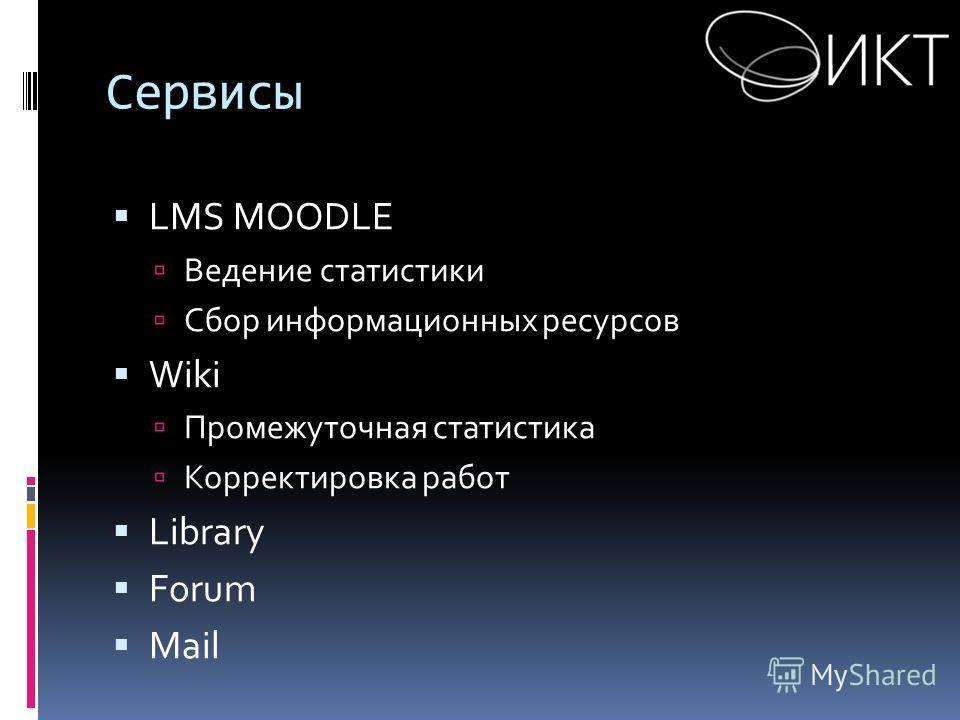 Сервисы LMS MOODLE Ведение статистики Сбор информационных ресурсов Wiki Промежуточная статистика Корректировка работ Library Forum Mail