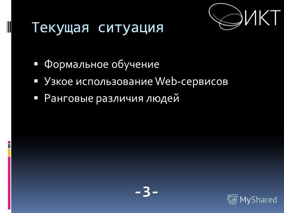 Текущая ситуация Формальное обучение Узкое использование Web-сервисов Ранговые различия людей -3-