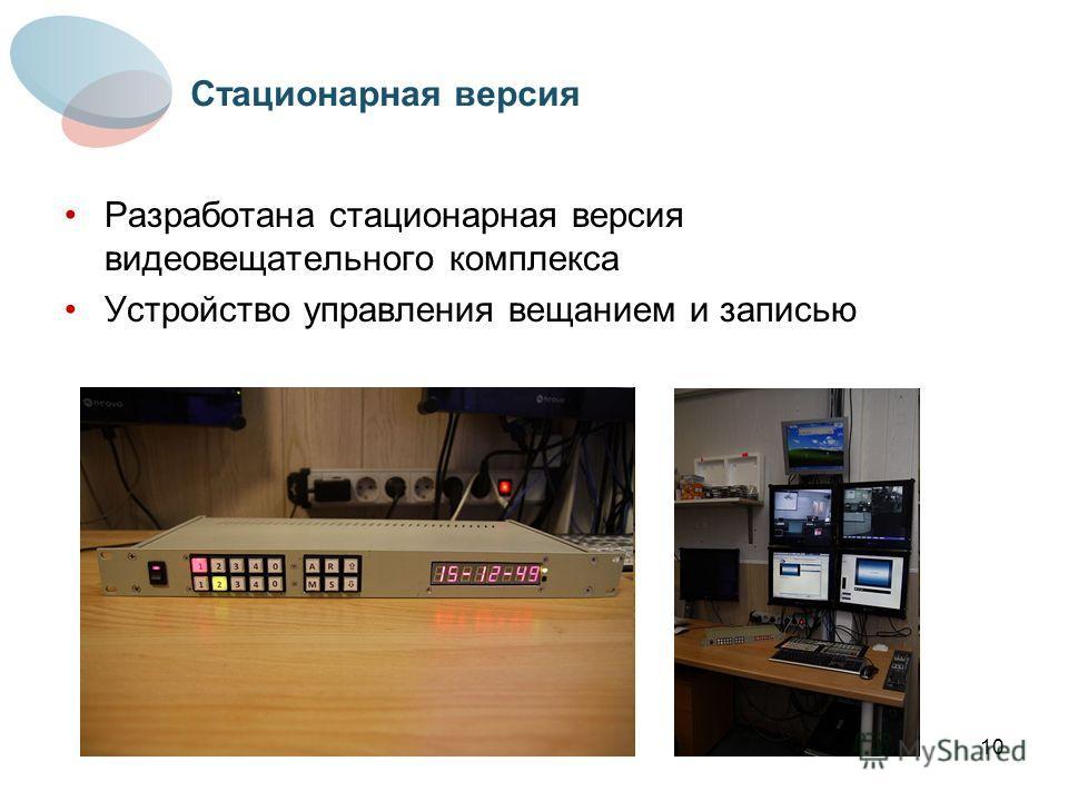 10 Разработана стационарная версия видеовещательного комплекса Устройство управления вещанием и записью Стационарная версия