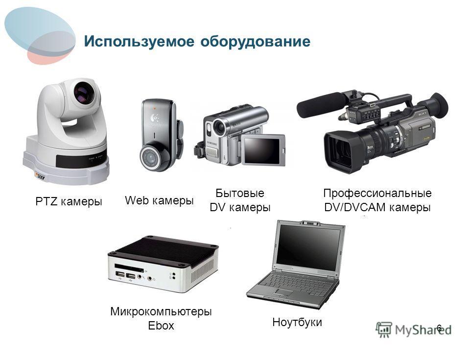 6 PTZ камеры Web камеры Бытовые DV камеры Профессиональные DV/DVCAM камеры Микрокомпьютеры Ebox Ноутбуки Используемое оборудование