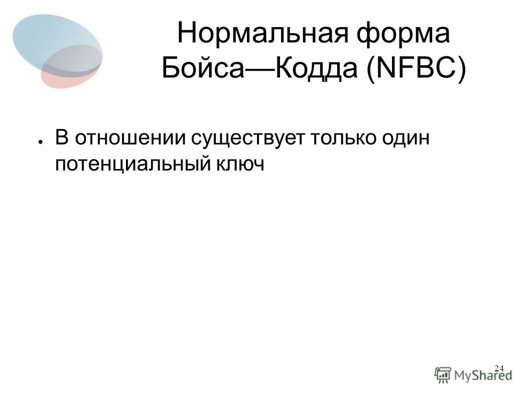 24 Нормальная форма БойсаКодда (NFBC) В отношении существует только один потенциальный ключ