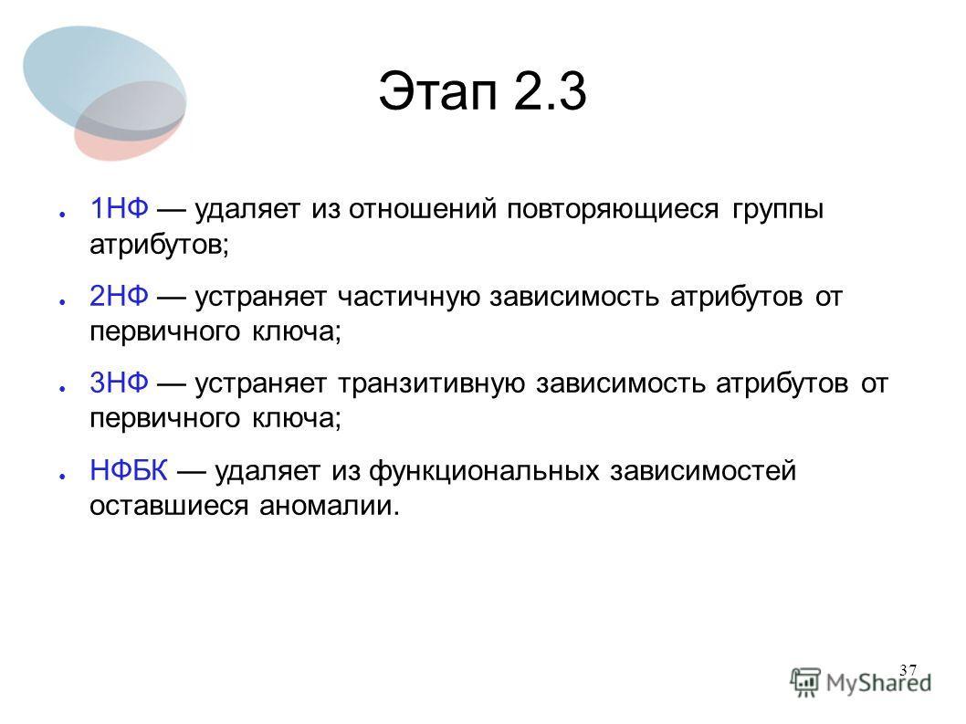 37 Этап 2.3 1НФ удаляет из отношений повторяющиеся группы атрибутов; 2НФ устраняет частичную зависимость атрибутов от первичного ключа; 3НФ устраняет транзитивную зависимость атрибутов от первичного ключа; НФБК удаляет из функциональных зависимостей