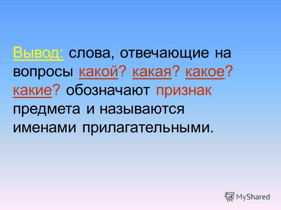 Вывод: слова, отвечающие на вопросы какой? какая? какое? какие? обозначают признак предмета и называются именами прилагательными.