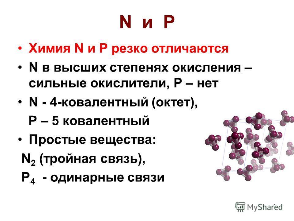 1 N и P Химия N и P резко отличаются N в высших степенях окисления – сильные окислители, P – нет N - 4-ковалентный (октет), P – 5 ковалентный Простые вещества: N 2 (тройная связь), P 4 - одинарные связи