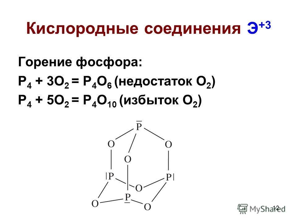 12 Кислородные соединения Э +3 Горение фосфора: Р 4 + 3О 2 = Р 4 О 6 (недостаток О 2 ) Р 4 + 5О 2 = Р 4 О 10 (избыток О 2 )
