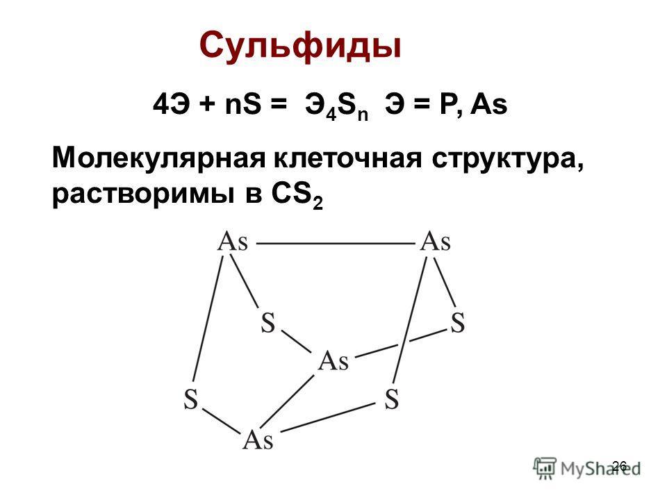 26 Сульфиды 4Э + nS = Э 4 S n Э = P, As Молекулярная клеточная структура, растворимы в CS 2