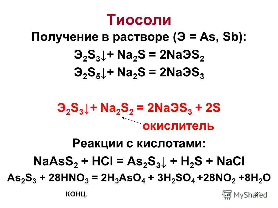 31 Получение в растворе (Э = As, Sb): Э 2 S 3 + Na 2 S = 2NaЭS 2 Э 2 S 5 + Na 2 S = 2NaЭS 3 Э 2 S 3 + Na 2 S 2 = 2NaЭS 3 + 2S окислитель Реакции с кислотами: NaAsS 2 + HCl = As 2 S 3 + H 2 S + NaCl As 2 S 3 + 28HNO 3 = 2H 3 AsO 4 + 3H 2 SO 4 +28NO 2