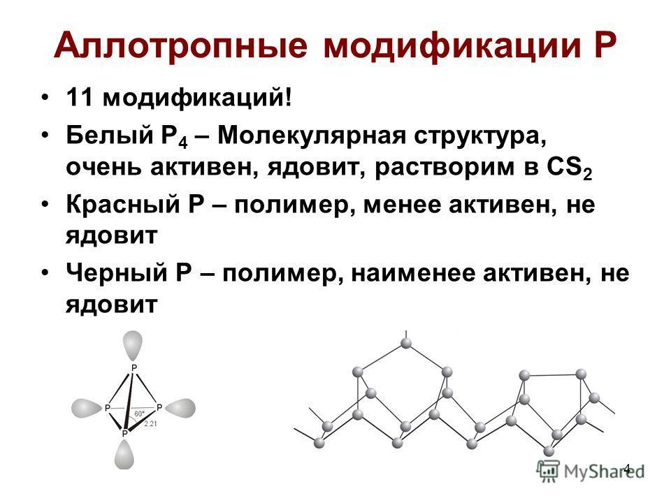 4 Аллотропные модификации Р 11 модификаций! Белый Р 4 – Молекулярная структура, очень активен, ядовит, растворим в CS 2 Красный Р – полимер, менее активен, не ядовит Черный Р – полимер, наименее активен, не ядовит