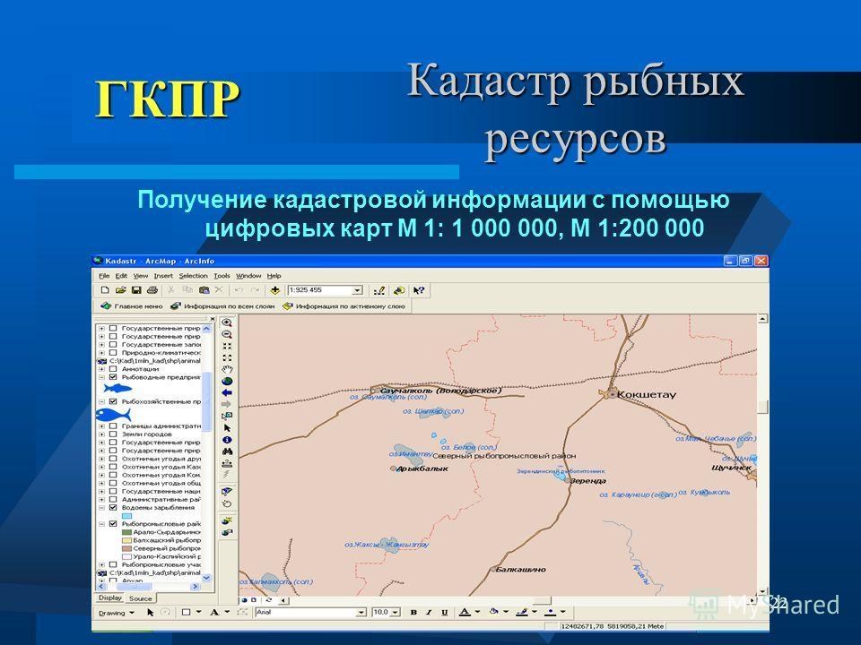 22 Кадастр рыбных ресурсов Получение кадастровой информации с помощью цифровых карт М 1: 1 000 000, М 1:200 000 ГКПР ГКПР