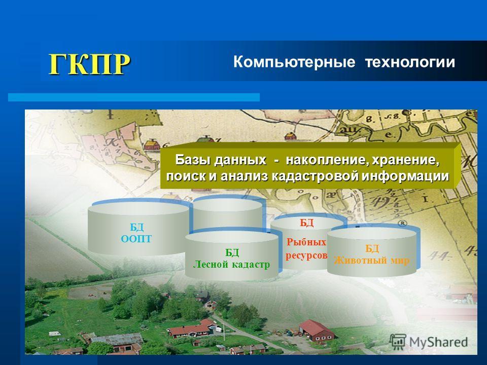 6 ГКПР ГКПР БД Животный мир БД ООПТ БД Лесной кадастр Компьютерные технологии Базы данных - накопление, хранение, поиск и анализ кадастровой информации БД Рыбных ресурсов