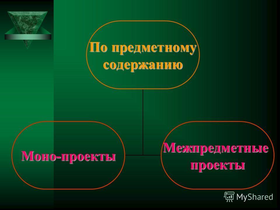 По предметному По предметномусодержанию Моно-проектыМежпредметныепроекты