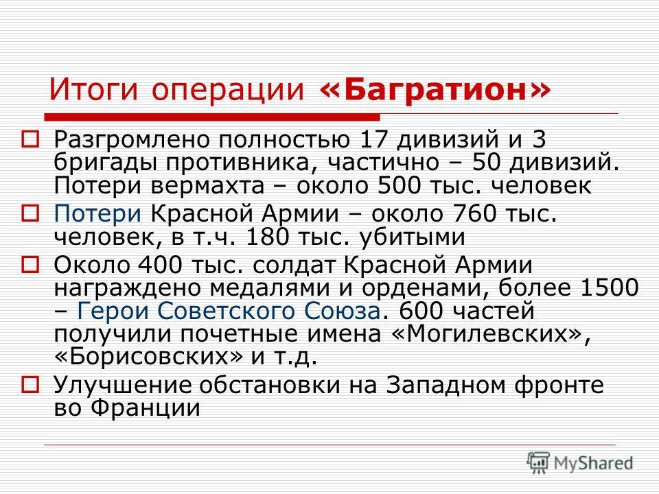 Итоги операции «Багратион» Разгромлено полностью 17 дивизий и 3 бригады противника, частично – 50 дивизий. Потери вермахта – около 500 тыс. человек Потери Красной Армии – около 760 тыс. человек, в т.ч. 180 тыс. убитыми Около 400 тыс. солдат Красной А