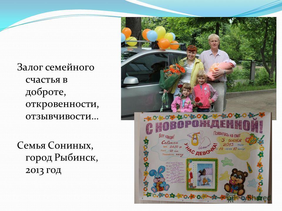 Залог семейного счастья в доброте, откровенности, отзывчивости… Семья Сониных, город Рыбинск, 2013 год
