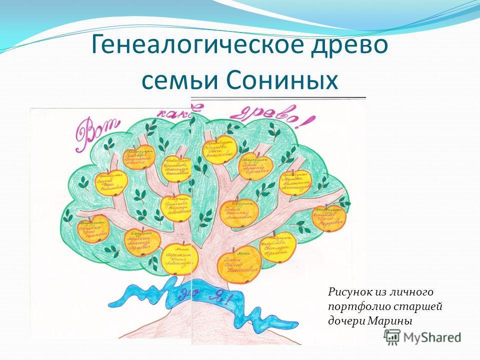 Генеалогическое древо семьи Сониных Рисунок из личного портфолио старшей дочери Марины
