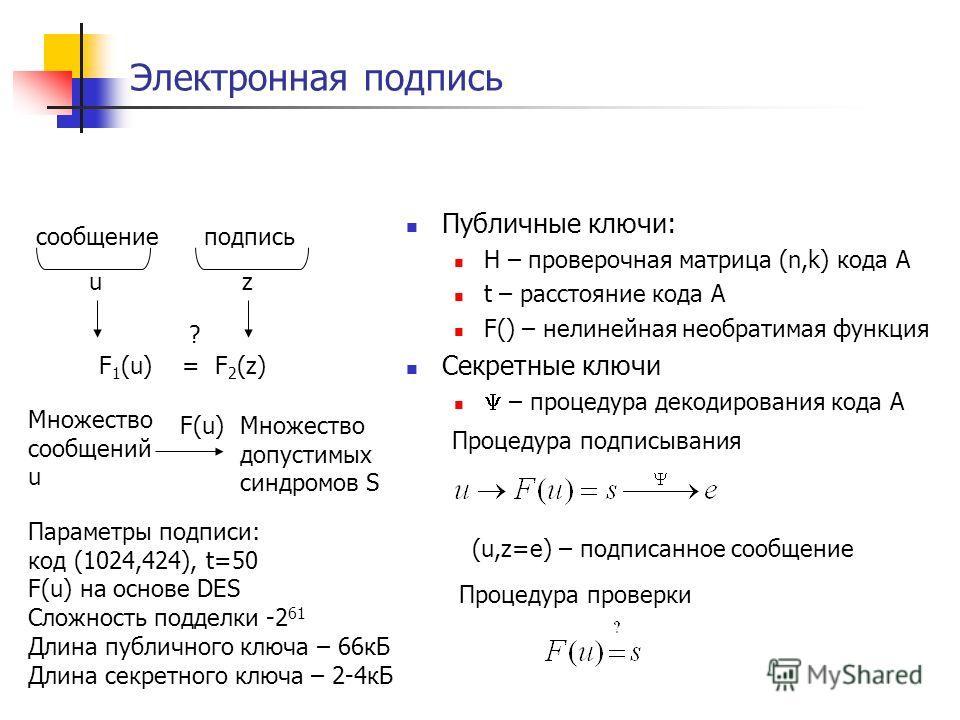 Электронная подпись Публичные ключи: H – проверочная матрица (n,k) кода A t – расстояние кода A F() – нелинейная необратимая функция Секретные ключи – процедура декодирования кода A сообщениеподпись uz F 1 (u) = F 2 (z) ? Множество сообщений u Множес