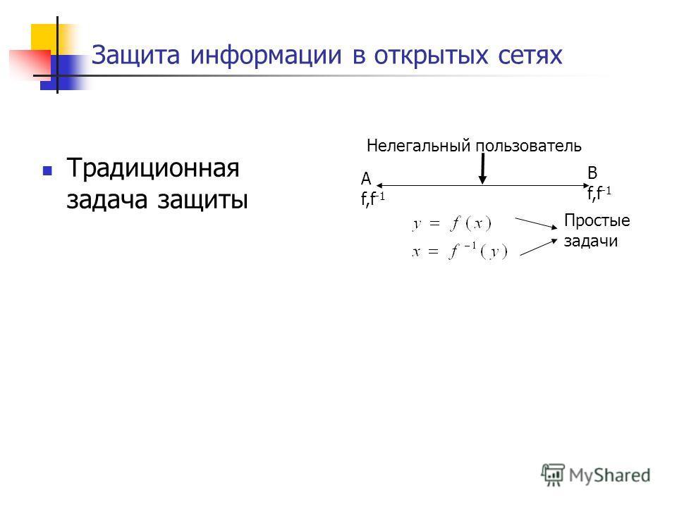 Защита информации в открытых сетях A f,f -1 B f,f -1 Нелегальный пользователь Традиционная задача защиты Простые задачи
