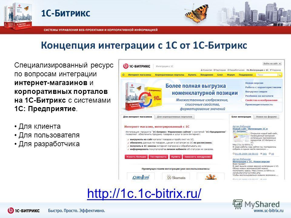 Концепция интеграции с 1С от 1С-Битрикс Специализированный ресурс по вопросам интеграции интернет-магазинов и корпоративных порталов на 1С-Битрикс с системами 1С: Предприятие. Для клиента Для пользователя Для разработчика http://1c.1c-bitrix.ru/