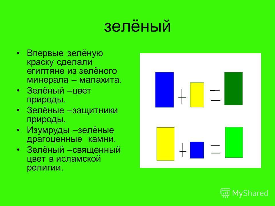 зелёный Впервые зелёную краску сделали египтяне из зелёного минерала – малахита. Зелёный –цвет природы. Зелёные –защитники природы. Изумруды –зелёные драгоценные камни. Зелёный –священный цвет в исламской религии.