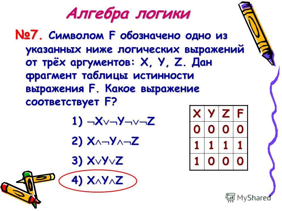 Алгебра логики 7. Символом F обозначено одно из указанных ниже логических выражений от трёх аргументов: X, Y, Z. Дан фрагмент таблицы истинности выражения F. Какое выражение соответствует F? 1) 1) XYZ 2) X YZ 3) X YZ 4) X YZ XYZF 0000 1111 1000