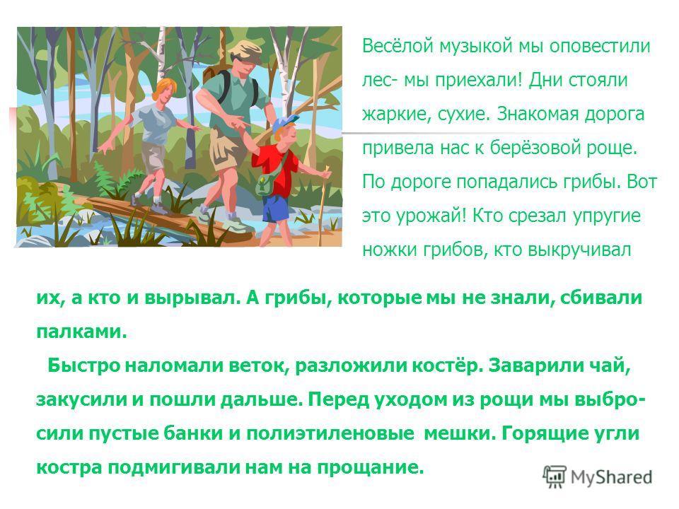 Весёлой музыкой мы оповестили лес- мы приехали! Дни стояли жаркие, сухие. Знакомая дорога привела нас к берёзовой роще. По дороге попадались грибы. Вот это урожай! Кто срезал упругие ножки грибов, кто выкручивал их, а кто и вырывал. А грибы, которые