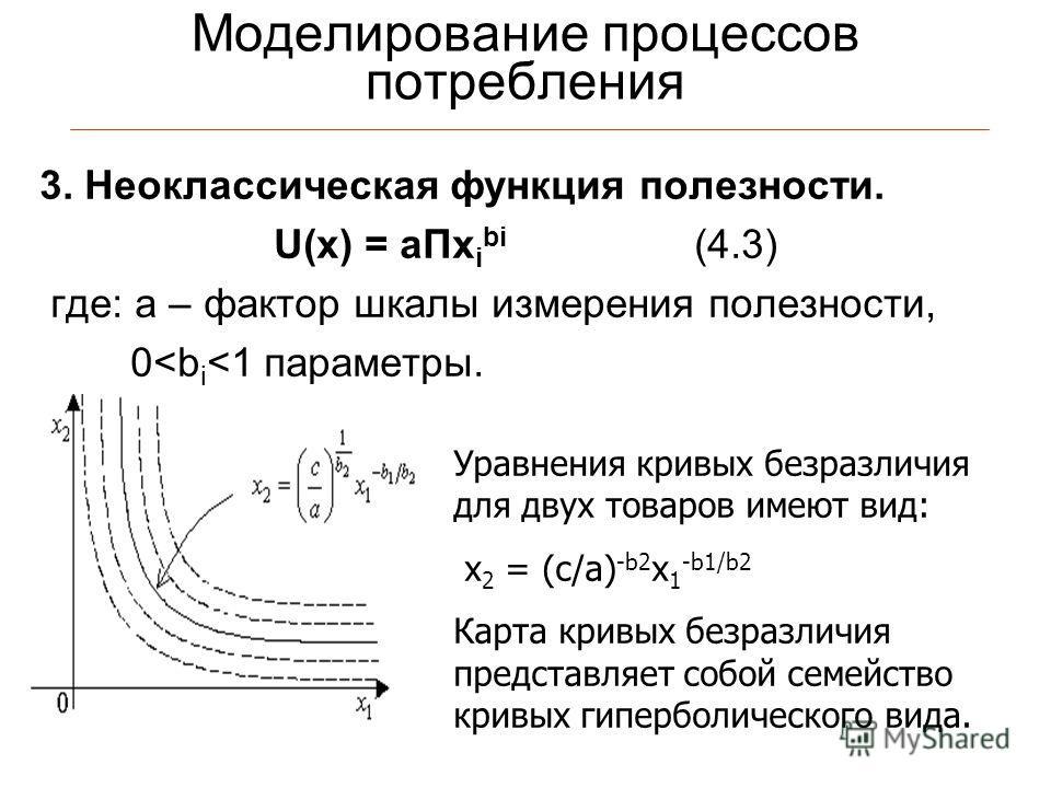 Моделирование процессов потребления 3. Неоклассическая функция полезности. U(x) = aПx i bi (4.3) где: а – фактор шкалы измерения полезности, 0