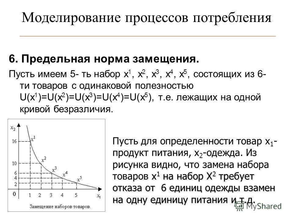 Моделирование процессов потребления 6. Предельная норма замещения. Пусть имеем 5- ть набор x 1, x 2, x 3, x 4, x 5, состоящих из 6- ти товаров c одинаковой полезностью U(x 1 )=U(x 2 )=U(x 3 )=U(x 4 )=U(x 5 ), т.е. лежащих на одной кривой безразличия.