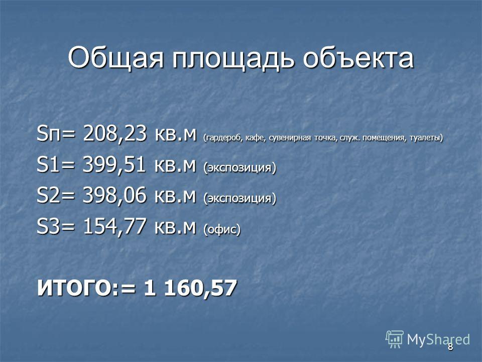 8 Общая площадь объекта Sп= 208,23 кв.м (гардероб, кафе, сувенирная точка, служ. помещения, туалеты) S1= 399,51 кв.м (экспозиция) S2= 398,06 кв.м (экспозиция) S3= 154,77 кв.м (офис) ИТОГО:= 1 160,57