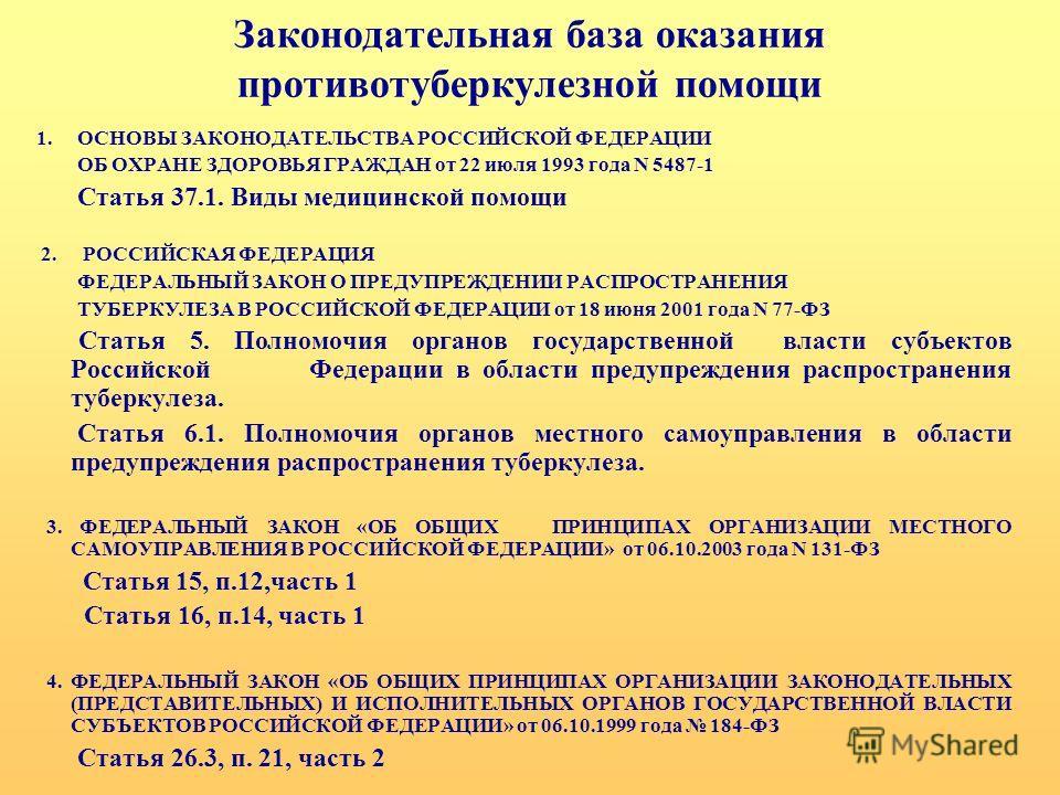 Законодательная база оказания противотуберкулезной помощи 1. ОСНОВЫ ЗАКОНОДАТЕЛЬСТВА РОССИЙСКОЙ ФЕДЕРАЦИИ ОБ ОХРАНЕ ЗДОРОВЬЯ ГРАЖДАН от 22 июля 1993 года N 5487-1 Статья 37.1. Виды медицинской помощи 2. РОССИЙСКАЯ ФЕДЕРАЦИЯ ФЕДЕРАЛЬНЫЙ ЗАКОН О ПРЕДУП