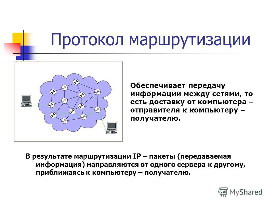 Протокол маршрутизации В результате маршрутизации IP – пакеты (передаваемая информация) направляются от одного сервера к другому, приближаясь к компьютеру – получателю. Обеспечивает передачу информации между сетями, то есть доставку от компьютера – о