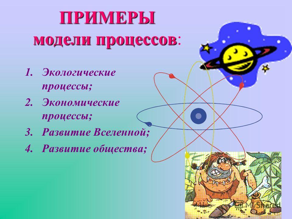 ПРИМЕРЫ модели процессов ПРИМЕРЫ модели процессов: 1.Экологические процессы; 2.Экономические процессы; 3.Развитие Вселенной; 4.Развитие общества;