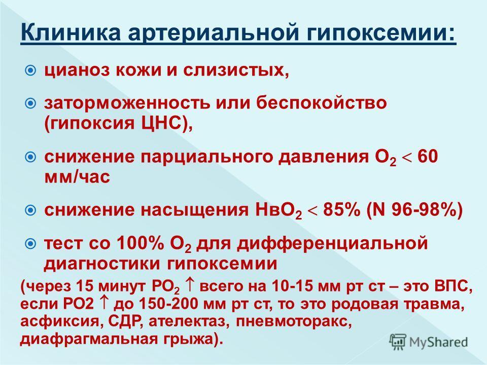 цианоз кожи и слизистых, заторможенность или беспокойство (гипоксия ЦНС), снижение парциального давления О 2 60 мм/час снижение насыщения НвО 2 85% (N 96-98%) тест со 100% О 2 для дифференциальной диагностики гипоксемии (через 15 минут РО 2 всего на