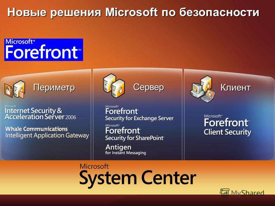 Microsoft Forefront Периметр Клиент Сервер Новые решения Microsoft по безопасности